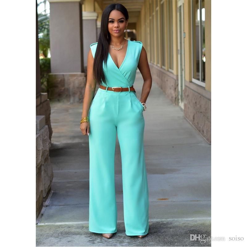 778be2676a3e Fashion Women High Waist V Neck Backless Sexy Sleeveless Most Colour Wide  Leg Pants Jumpsuit Onesies Suit With Belt UK 2019 From Soiso