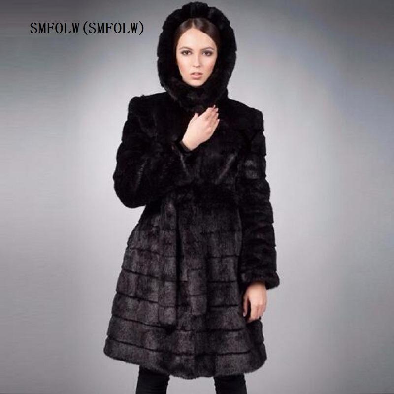 Acquista SMFOLW 2018 Nuove Donne Invernali Outwear Manica Lunga Pelliccia Di  Visone Cappotto Lungo Soprabito Donna Nera Giacca Taglia S 6XL Costumize  S112 A ... 29059f56d4e