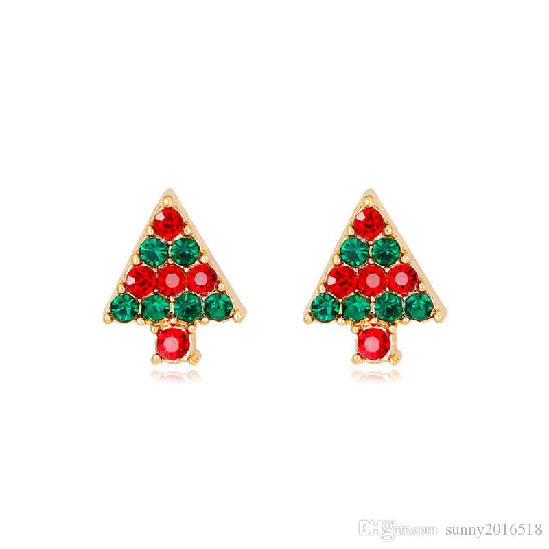 f3c521b38 2019 New Christmas Jewelry Colorful Rhinestone Cartoon Christmas Tree  Earrings Womens Stud Earrings Gold Plated Alloy Fashion Jewelry From  Sunny2016518, ...