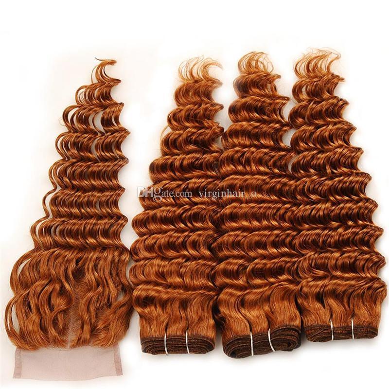 Новое прибытие # 30 Темно-коричневый глубокая волна человеческого Плетение волос с 4x4 Closure Medium Auburn Deep завитые волос девственницы Связки с кружевом Закрытие