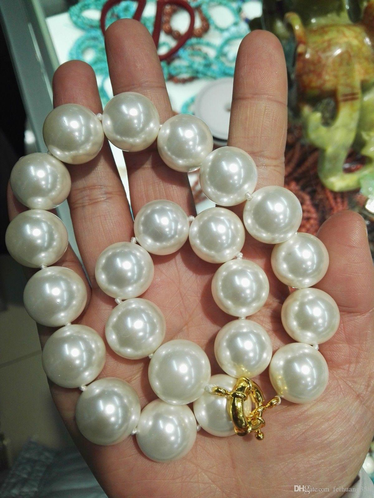 Wholesale Cheap Charming 18MM white shell Pearl bead necklace 18inch