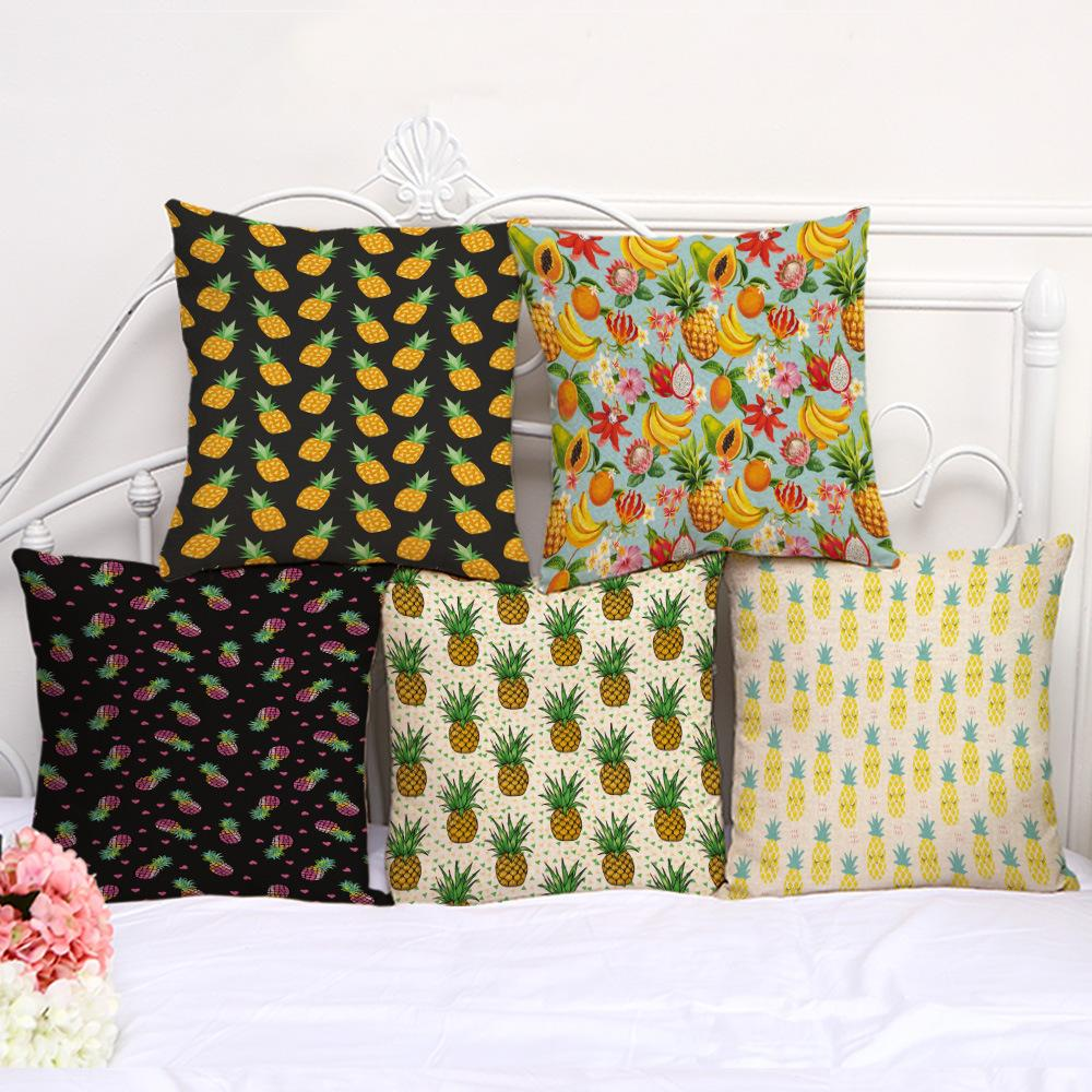 Factory Direct Sale New Fruit Pineapple Cotton And Hemp Printing Sofa Cushion Pillowcase Back Cushion Window Decoration Pillow Cover
