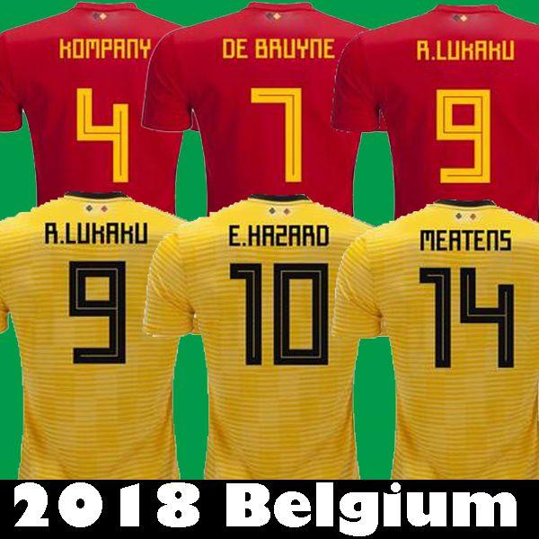 2018 HAZARD LUKAKU BELGIUM Away Yellow Soccer Jerseys 18 19 ... e0757672131f0