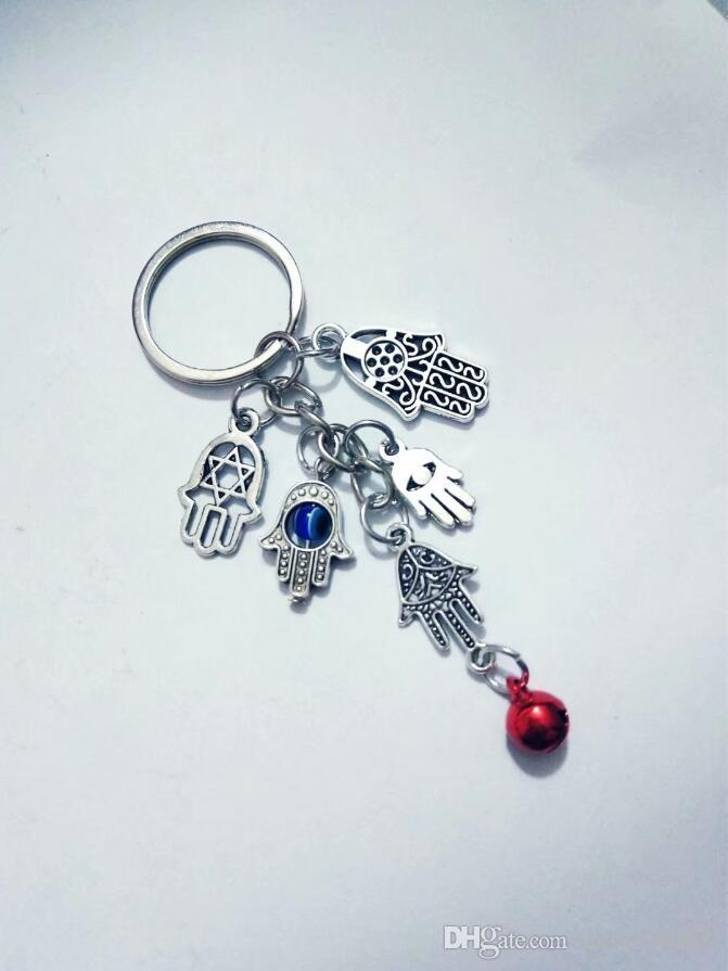 Fashion jewelry Tibetan silver mixing Fatima Hamsa Hand eye/Bell charm pendant key chain ring Car Bag Decorations Keychain A21