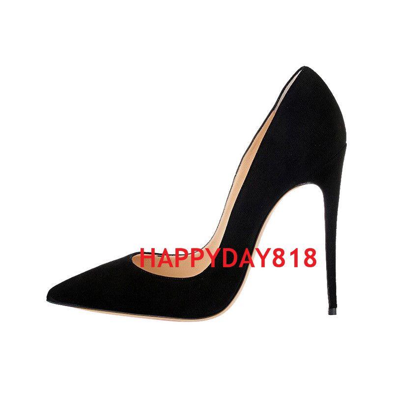 الشحن مجانا أزياء النساء أحذية أسود الجلد المدبوغ بوينت تو الكعوب رقيقة عالية الكعب مضخات الخناجر أحذية للنساء 120 ملليمتر