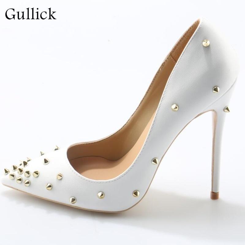 Graceful High Sexy Fashion Thin Classics Shoes Simple Toe White Office Pointed Ladies Rivet Heel Pumps Woman BoxeWrCd