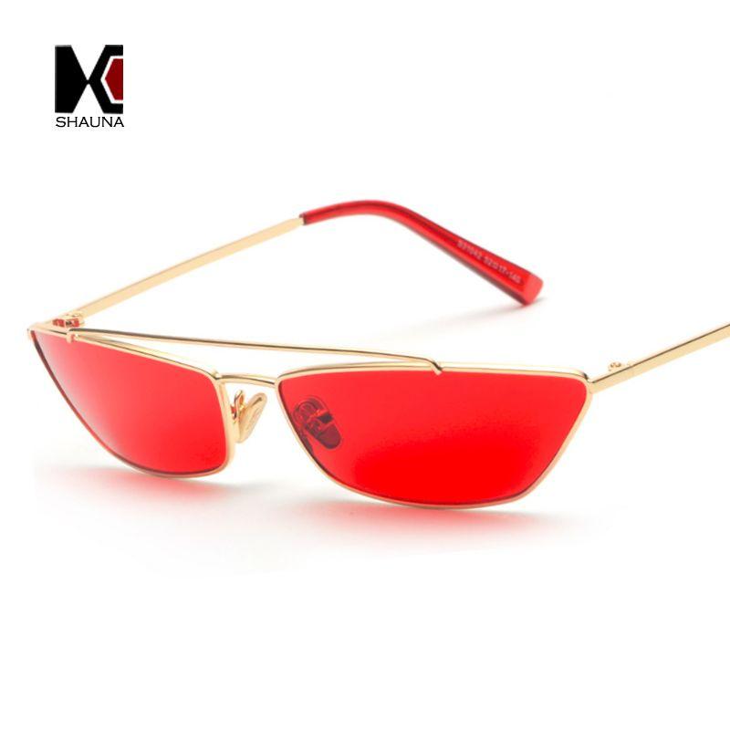 310817be927 SHAUNA Candy Colors Fashion Women Small Cat Eye Sunglasses Double Bridges  Retro Men Red Lens Glasses UV400 Women Small Sunglasses Sunglasses Cat Eye  ...