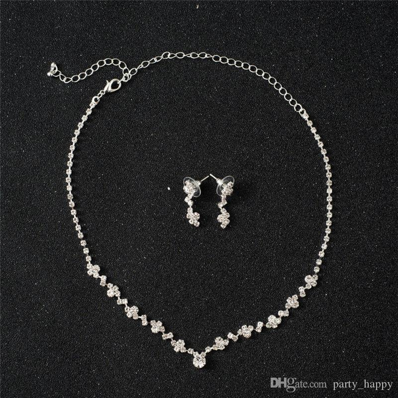الفضة وصيفة الشرف أقراط قلادة كريستال مجموعة مجوهرات الزفاف العرسان XBUK