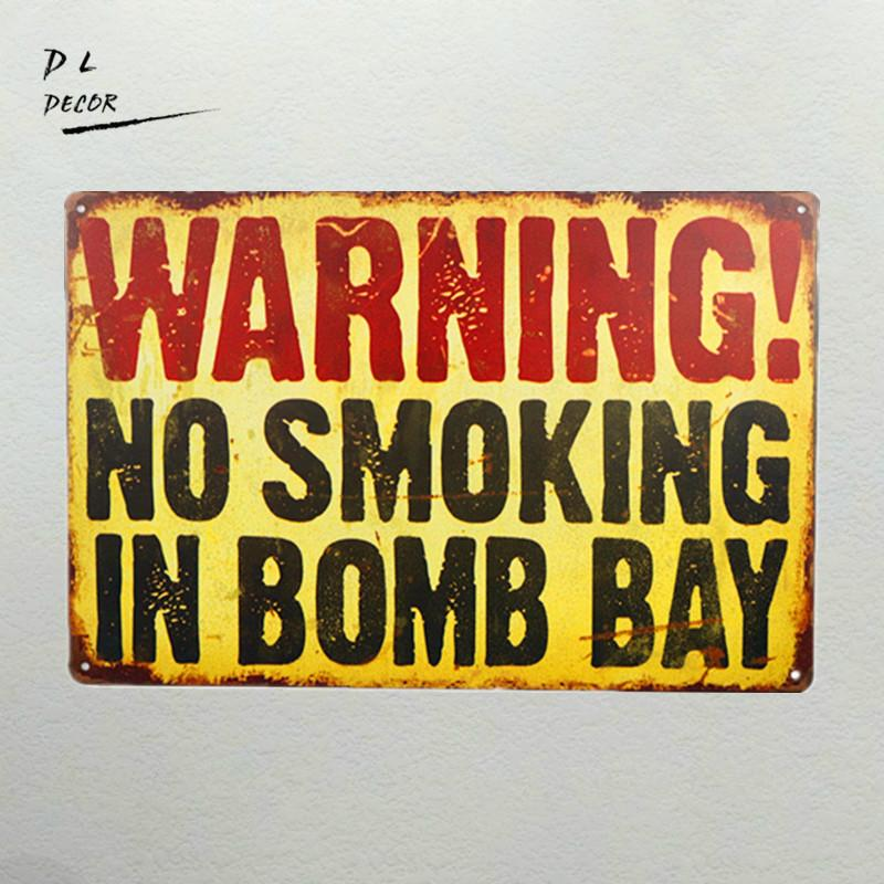Warning No Smoking Bar House Wall Decor Metal Sign Vintage Poster ...