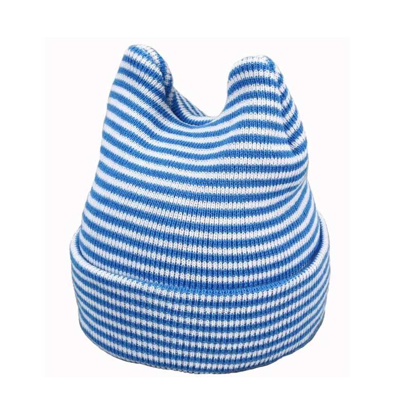5b8ce0382f7 Child Beanies Unisex Knit Double Ear Skullcap M4975 Blue Stripe ...