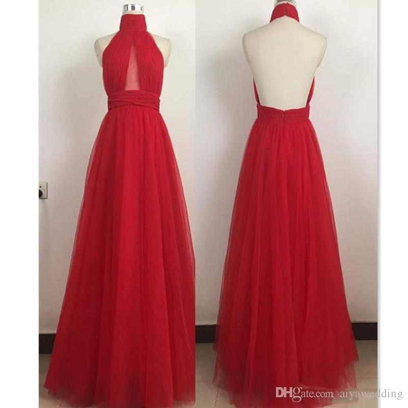 145a6b949c954 2019 Red Backless Evening Dresses Halter Simple A-line Long Floor Length  Special Occasion Prom Party Gowns Cheap Free Fast Shipping