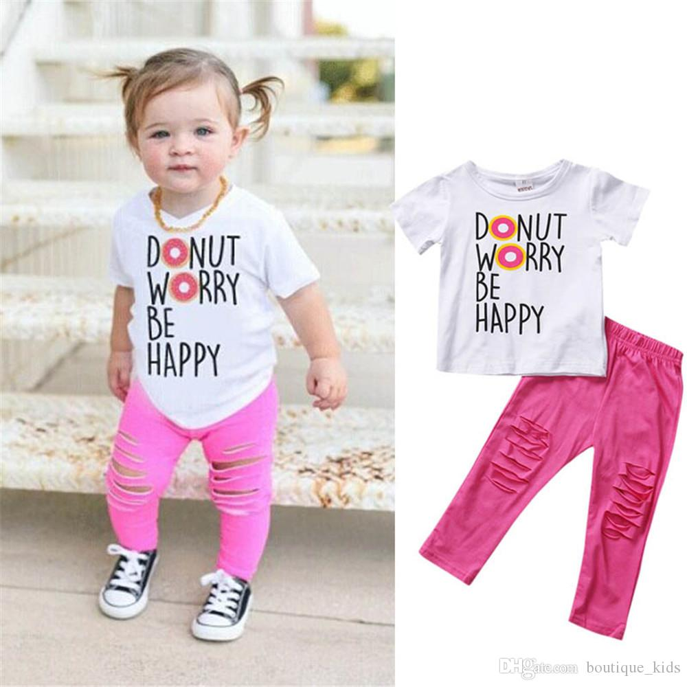 c010ff46e006 Children Clothing Sets Baby Girls Clothes Letter Print Tops T-shirt ...