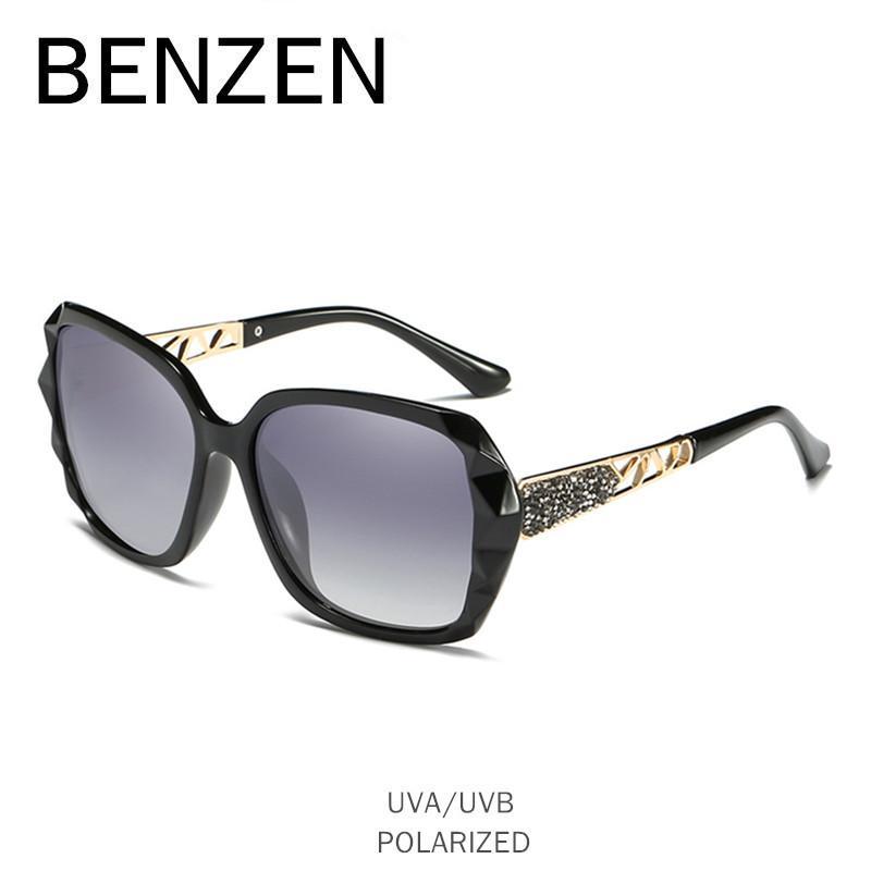 c00072a60 Compre BENZEN Óculos De Sol Das Mulheres Designer De Marca HD Polarizada Do  Vintage Feminino Óculos De Sol UV 400 Senhoras De Luxo Shades Preto W6232  De ...