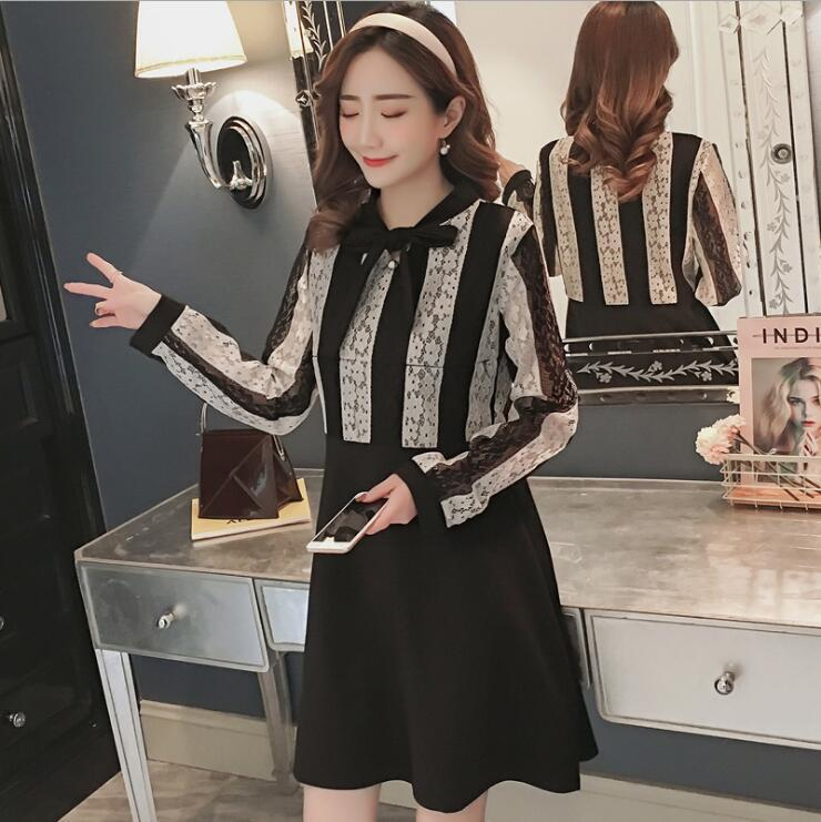 1b62a367bad High quality women's maternity dress 2018 autumn new Korean pregnant women  breastfeeding lace dress black white lace YFQ05