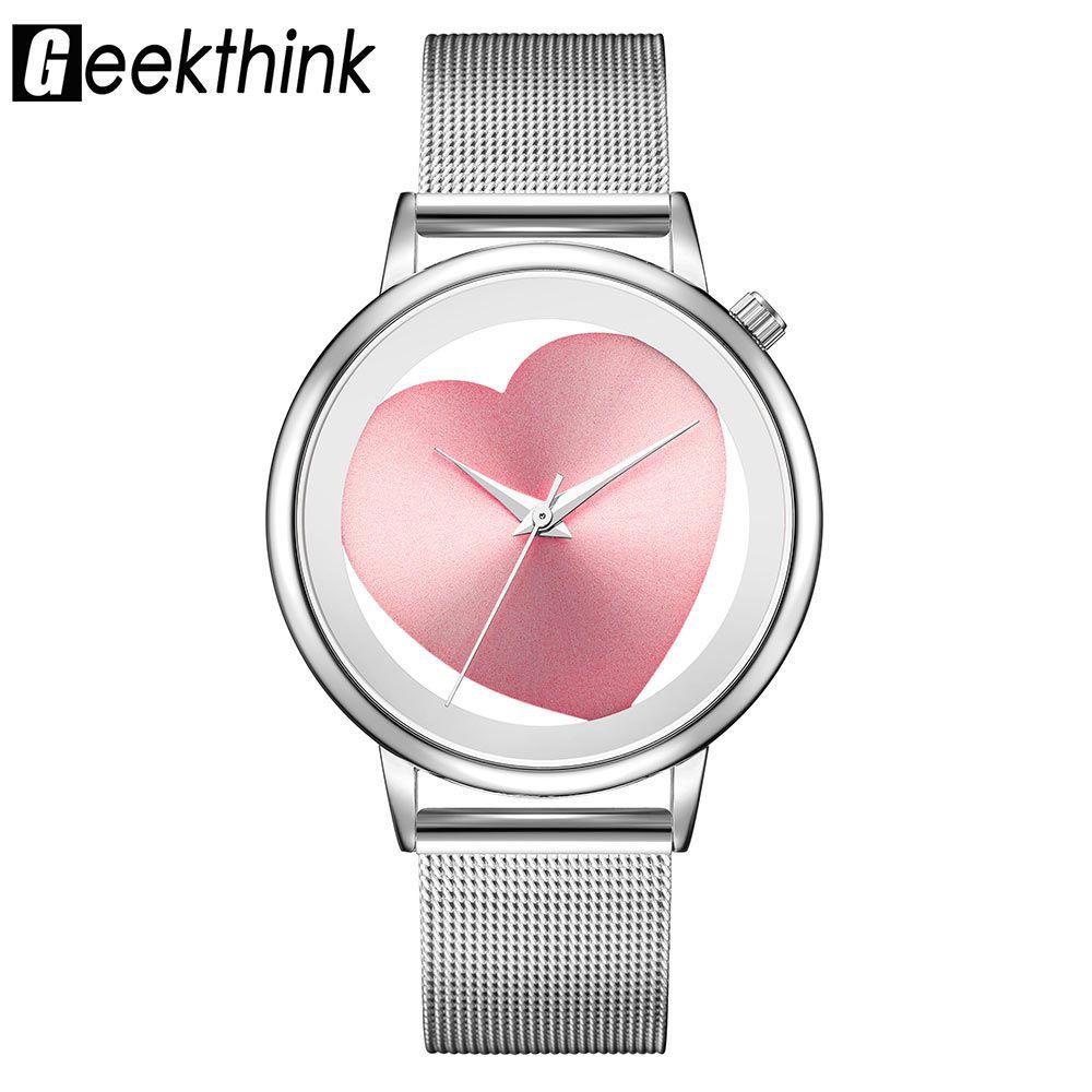 Geekthink Luxusmarke Mode Quarzuhr Frauen Damen Edelstahl Armband Uhren Lässige Uhr Weibliche Kleid Geschenk Relogio Damenuhren