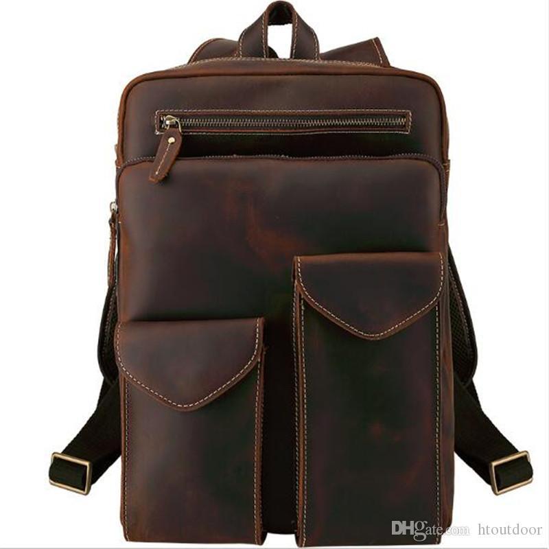 4f6f5c3335e0 Luxury Vintage Full Grain Genuine Leather Backpack For Men Outdoor Travel  Weekender Business Laptop Bag School Crazy Horse Rucksack Bag UK 2019 From  ...