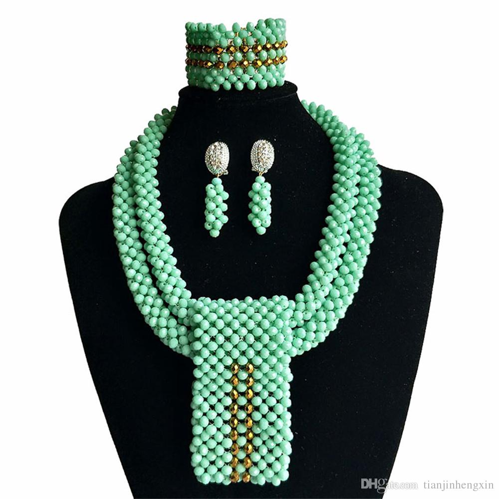 Light Green Crystal Beads Traditional African Wedding Bridal Statement Necklace  Set African Beads Jewelry Set For Women SP2 1 Cheap Jewelry Jewelry Store  ... c1b156ae01bd