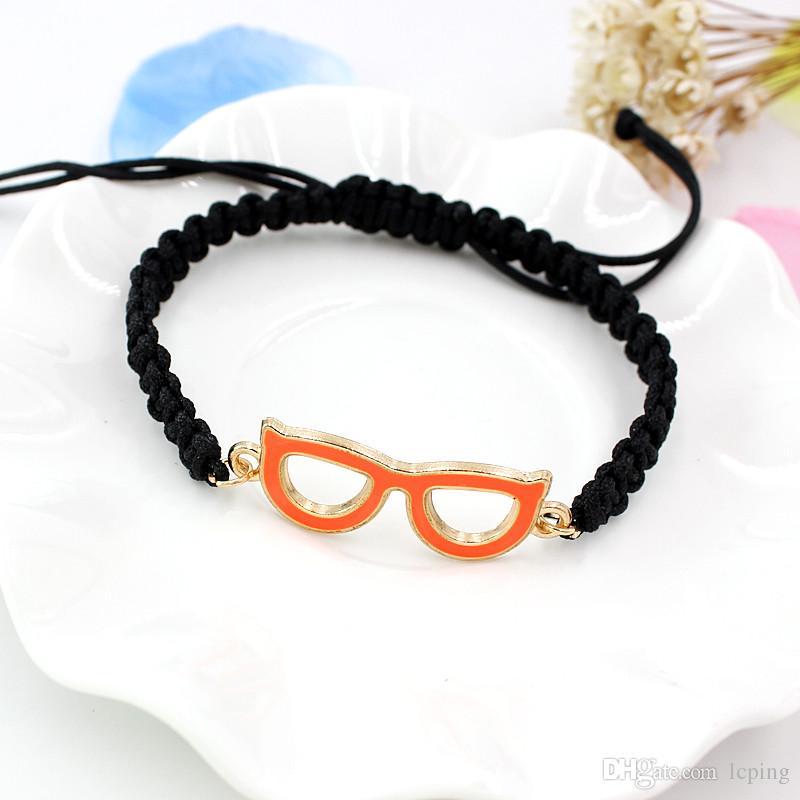 Toptan Kedi göz el dokuması alaşım damla gözlük bilezik kombinasyonu el halat takı Charm Bilezikler bir sürümü
