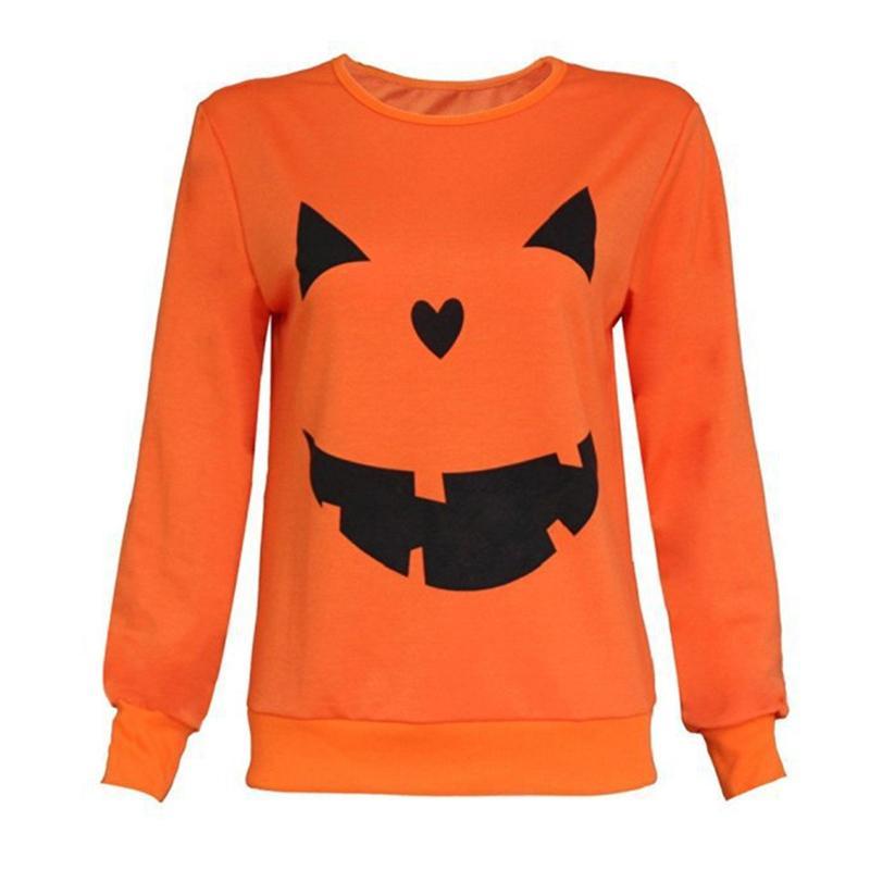 6f49ff72 2019 Hot Women Halloween Pumpkin Print Long Sleeve Sweatshirt Pullover Tops  Blouse Shirt Female Casual Hoodies Tracksuit 832710 From Lixlon04, ...