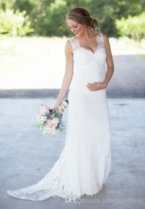 New Elegant Lace Maternity Wedding Dresses Cheap Romantic V Neck Empire Waist Wedding Dresses For Pregnant Women Plus Size Bridal Gowns