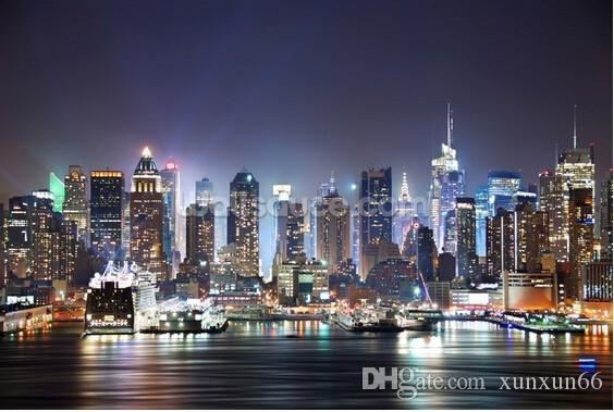 Kundenspezifische Fototapete, Skyline New York, Manhattan nachts. Moderne Wandgemälde 3D für Wohnzimmerschlafzimmer-Küchenwand PVC-Tapete.