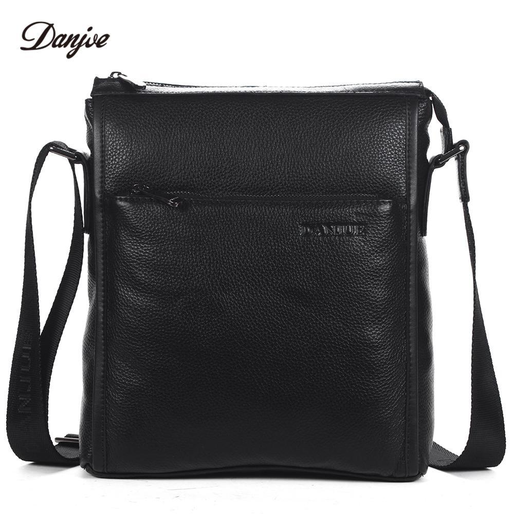 91dcecd758af DANJUE Men Bag Genuine Leather Messenger Bag Male Vertical Black Business  Crossbody Classic Zipper Casual Shoulder Man Luxury Handbags Red Handbags  From ...