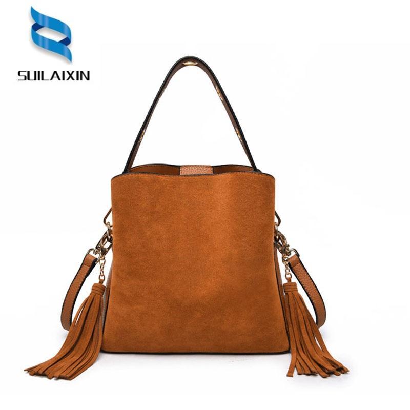 cc5f154bd770 Brand Women Retro Faux Suede Scrub Crossbody Bags For Women Hobo Bucket Bag  Shoulder Messenger Bags With Tassel Handbag Satchel Handbags Ladies Purses  From ...