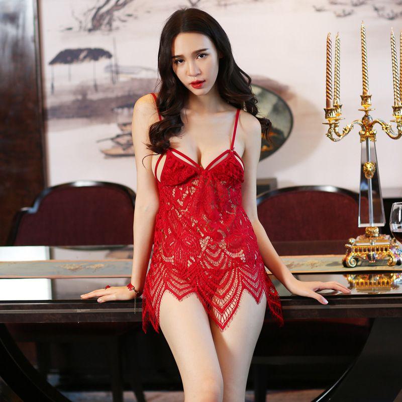 58303453b Compre Mulheres Sex Appeal Sexy Lace Transparente Gaze Pijamas Dormindo  Saia Roupa Interior Set Casa Desgaste Das Mulheres De Loveoln