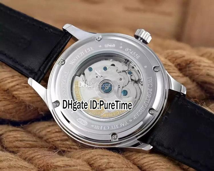 New Portugieser IW510203 Steel Case White Dial Automatic Mens Watch Black Leather Strap Glass Back High Quality Watches Super Cheap IW262a1