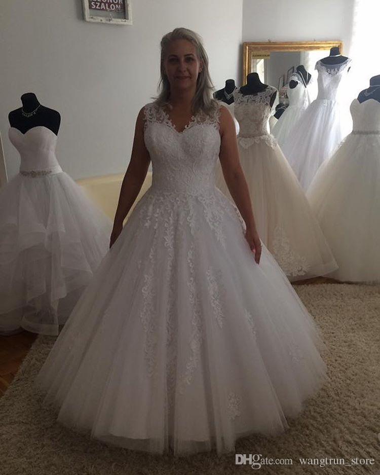 2cbc47675187 Discount Wide Straps Lace Appliqued Plus Size Wedding Dresses Vestido De  Novia Princess V Neck Sleeveless Keyhole Back Floor Length Bridal Gowns Ball  ...