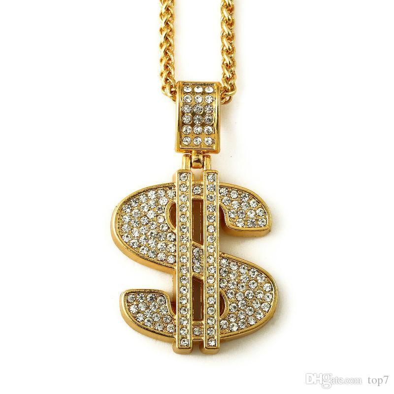 2018 gold hip hop bling dollar sign 75cm gold chain dollars 2018 gold hip hop bling dollar sign 75cm gold chain dollars rhinestone crystal pendant necklace fashion jewelry men women gifts hip hop necklace necklace mozeypictures Image collections