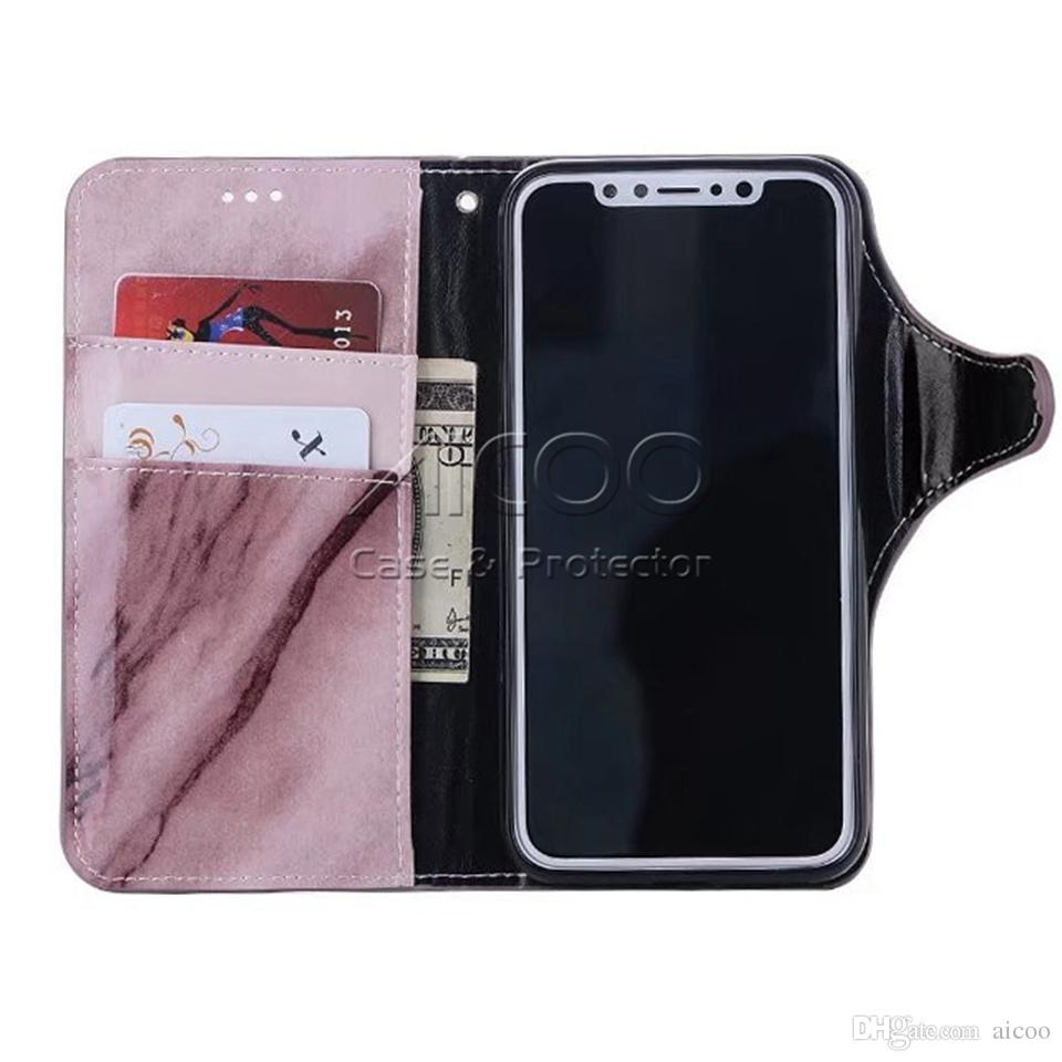 Marble Pattern Wallet Case con tarjeteros de tarjeta de crédito Folio PU Leather Magnetic Closure Flip Cover para iPhone X 8 7 6S 6 Samsung S8 plus