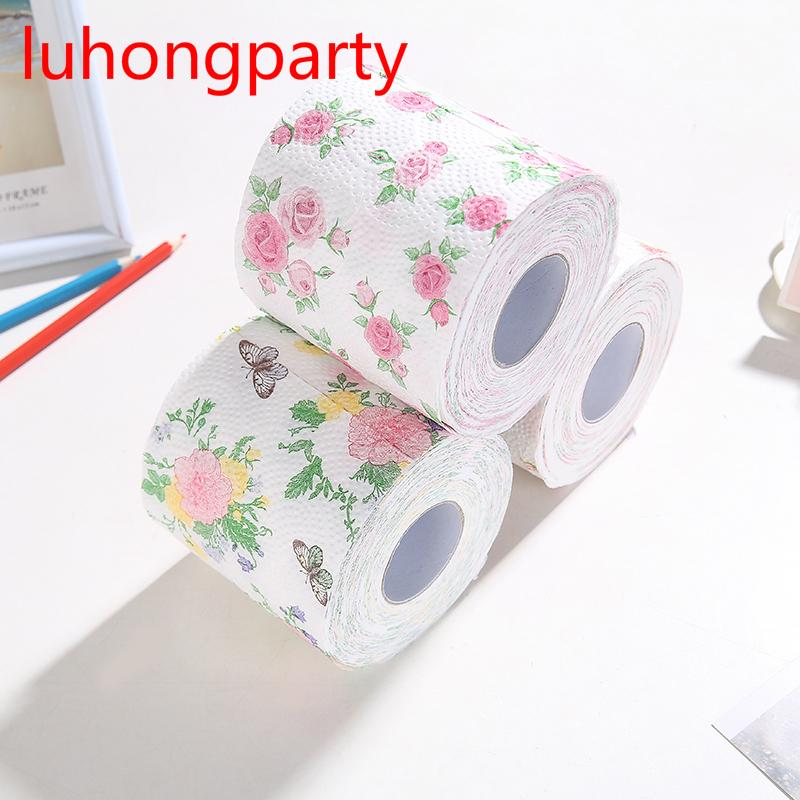 2Packs 30m/pack flowery design Printed Paper Toilet Tissues Roll Toilet Paper Novelty Tissue Wholesale