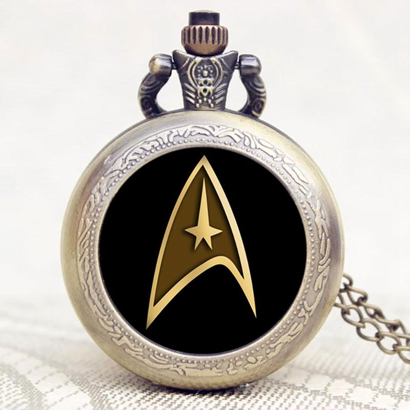 Vintage Star Trek Theme Design Glass Dome Round White Dial Necklace Chian Pocket Watch for Women Men