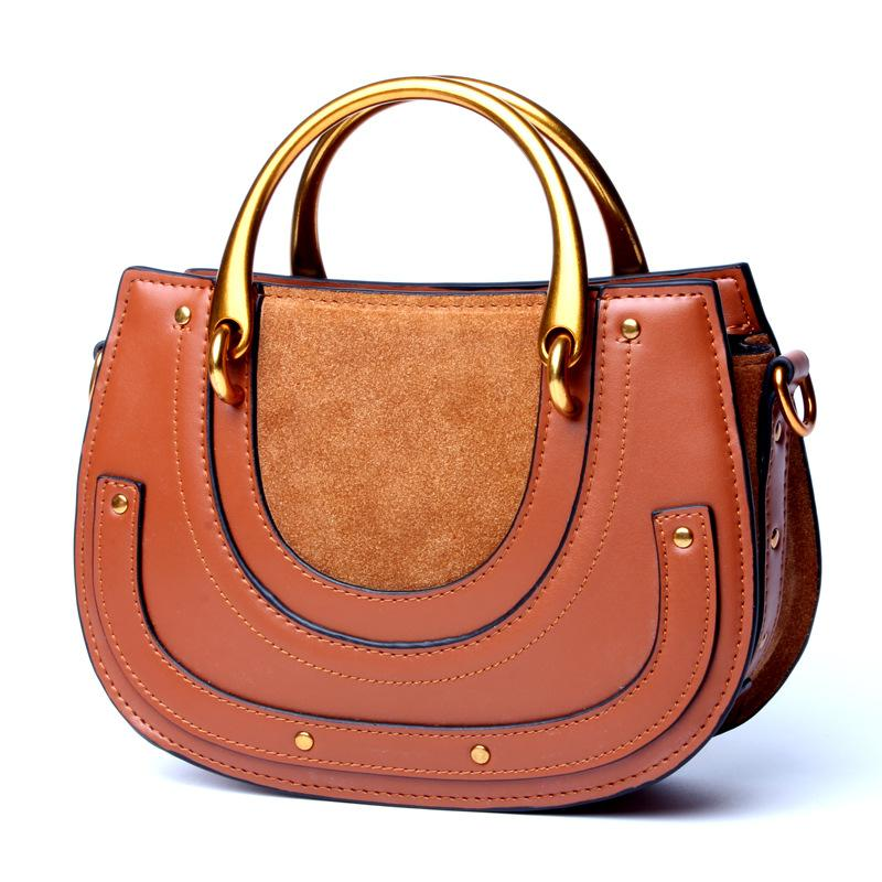 ae4d22ebc9 2018 New Women s Handbag Vintage Saddle Suede Cowhide Leather Ring Bags  Fashion Women Ladies Crossbody Shoulder Bag Totes Italian Leather Handbags  Luxury ...