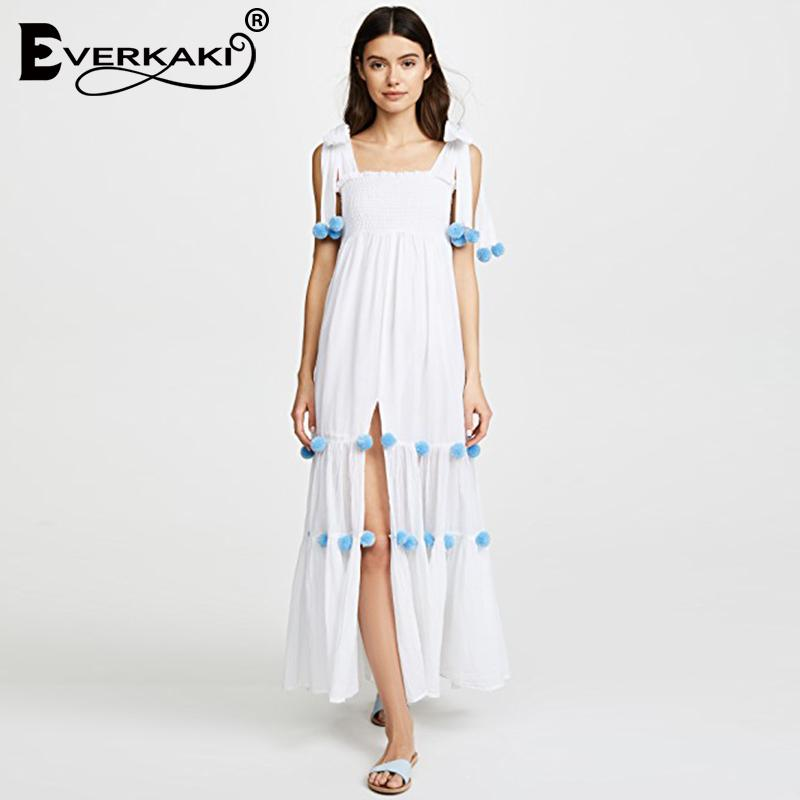 26224dcd5868f Everkaki Women Boho Chiffon Lace Up Maxi Dress Velvet Ball Attached  Sleeveless Split Solid Bohemian Dress Female 2018 Summer New