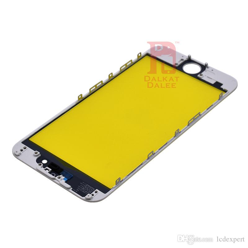 For iPhone 6 Front Touch Screen Panel Outer Glass Lens + Cold Glue Middle Frame Bezel Assembly Replacement Spare Parts