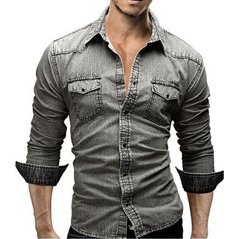 87d1d6380d5 2017 Fashion Men s Jeans Casual Slim Fit Stylish Wash-Vintage Denim Shirts  Tops Long Sleeve Gray Jeans Shirts