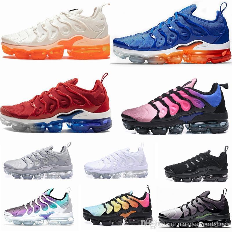 2019 Nike air vapormax TN Plus Jeu Royal Orange USA Tangerine à la menthe Grape Volt Hyper Violet formateurs Sport Sneaker Hommes femmes Designer