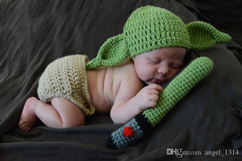 d6fc1ac66be 2019 Newborn Photography Baby Hat Crochet Baby Yoda Outfits Clothing Set  Knitted Infant Boys Photo Fotografia Props Cartoon Costume From Angel 1314
