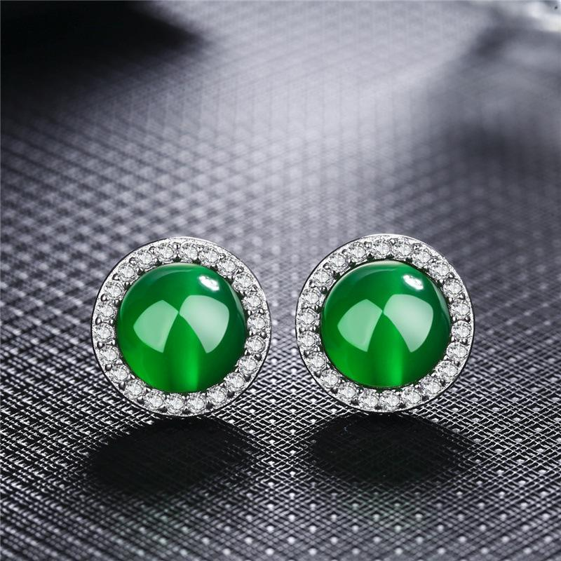 Red/green stone rhinestones stud earrings for girls white plated round women earring fashion ear jewelry brincos