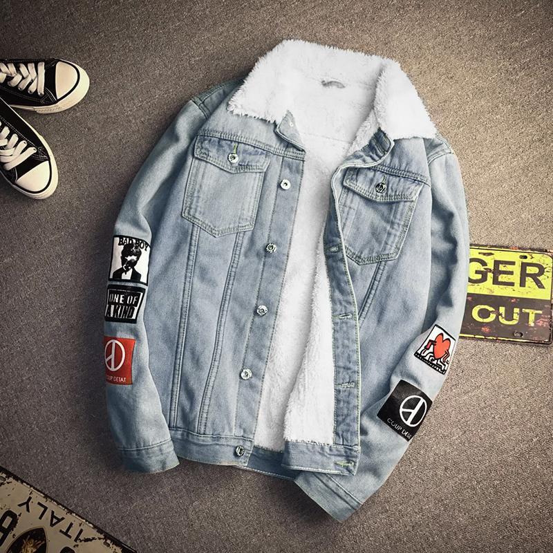 ac559fe2476 2017 Japan Style Denim Jackets Men Fashion Print Thick Winter Jackets Mens  Turn Down Collar Long Sleeve Jeans Coats Man Big Size Site Jacket Denim  Jacket ...
