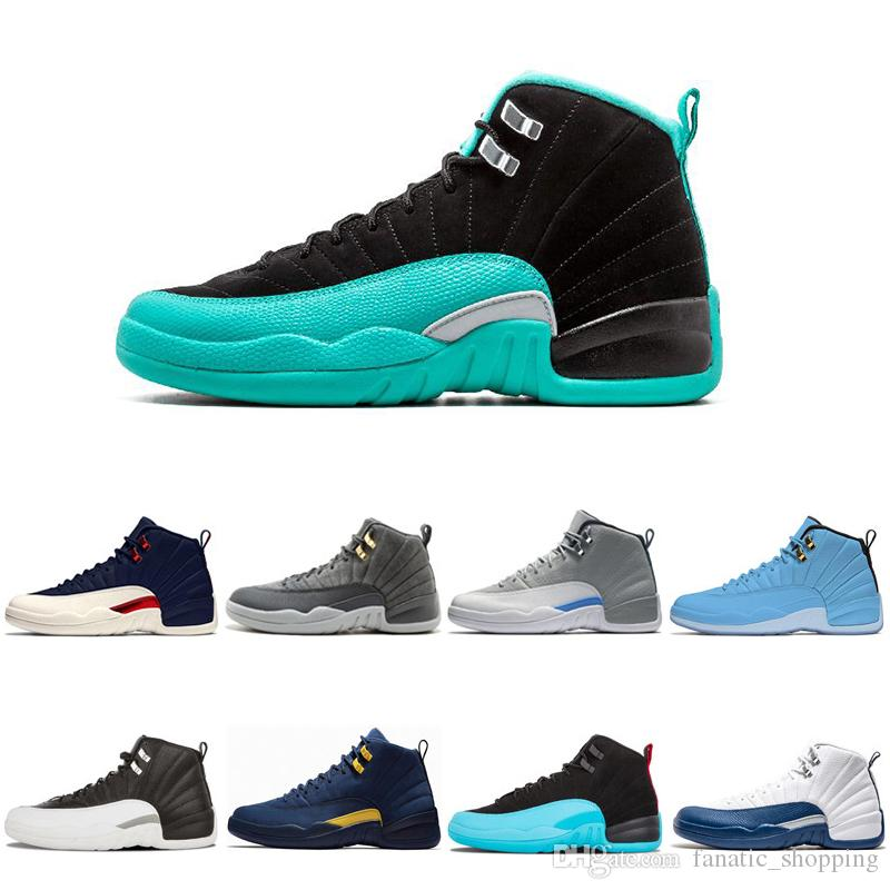 89847b1dfc19f9 Wholesale Hyper Jade 12 Basketball Shoes 12s XII UNC College Navy Wool TAXI  Playoffs Mens Athletic Sports Sneakers Size 7 13 Shoes Mens Online Shoes  From ...