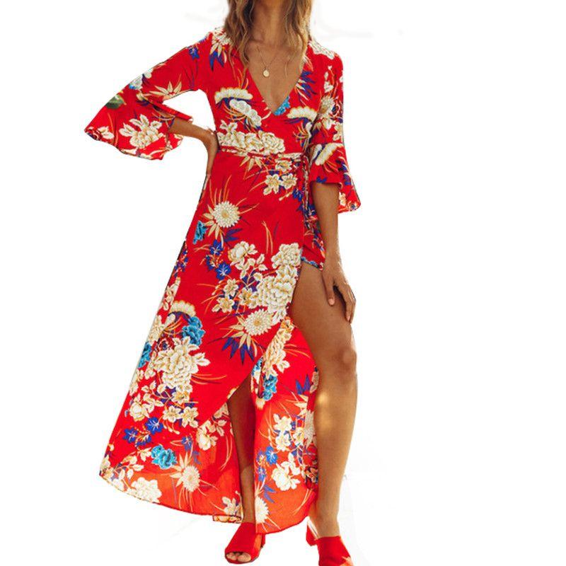 7347b5dc9e31 Summer Boho Floral Print Maxi Dress Sexy V Neck Flare Sleeve Women Tunic Vintage  Elegant Party Beach Sundress 2019 Vestido S XXL Green Dress Pink Dress From  ...