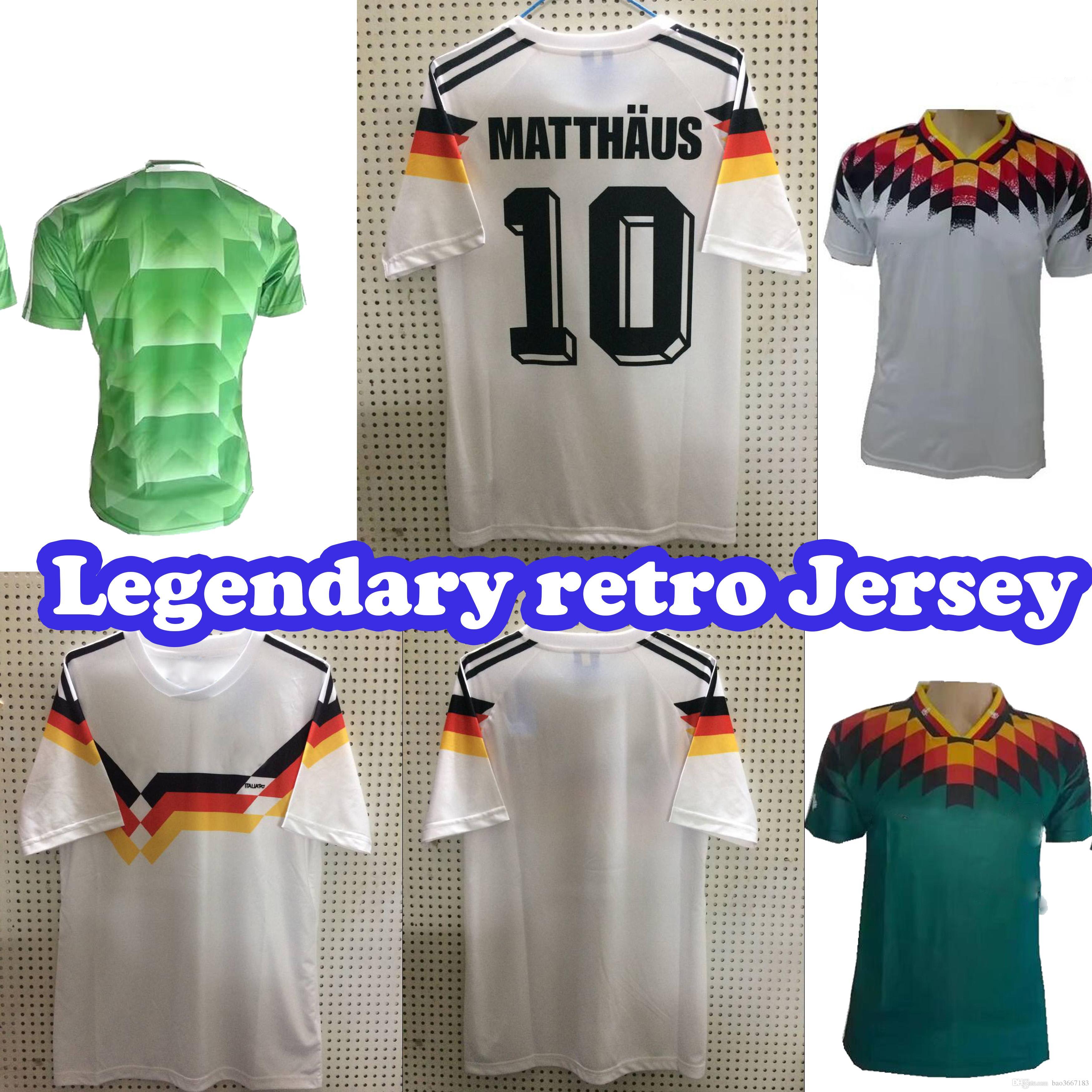 Compre TAMANHO S 2XL 1990 Copa Do Mundo Alemanha Retro Soccer Jersey  KLINSMANN Matthäus 1988 1994 Copa Do Mundo Em Casa Fora De Casa Alemanha  Retro Futebol ... d360f6f5140fb