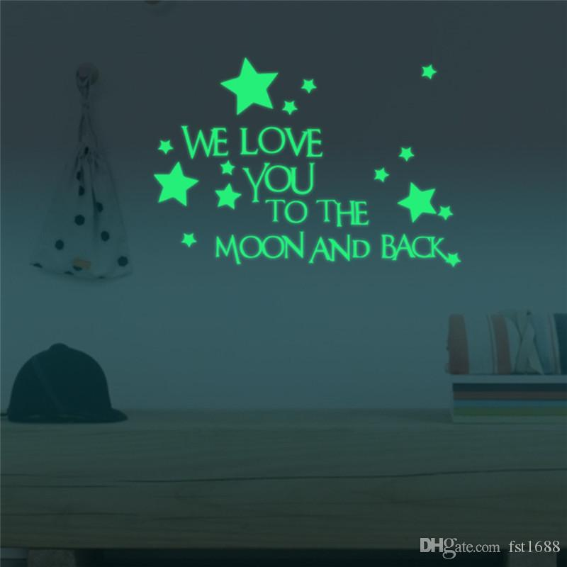 Diy Luminous Stickers Star Moon Creative Personalized We Love You