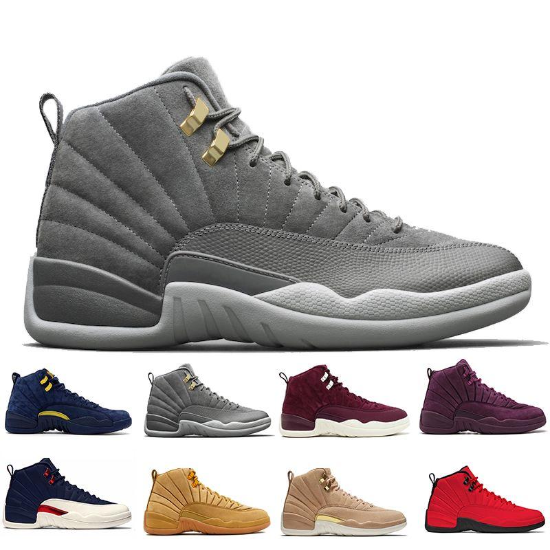 e6ae8f75d92 12 12s Men Basketball Shoes Wheat Dark Grey Bordeaux Flu Game The ...