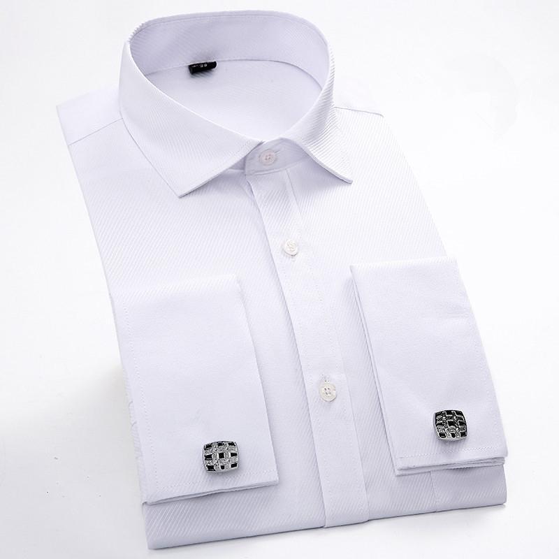 a6e476b088 Camicia da uomo con gemelli francesi 2018 Camicia a maniche lunghe da uomo  a manica lunga Camicie casual da uomo di marca Camicie slim fit con polsini  ...