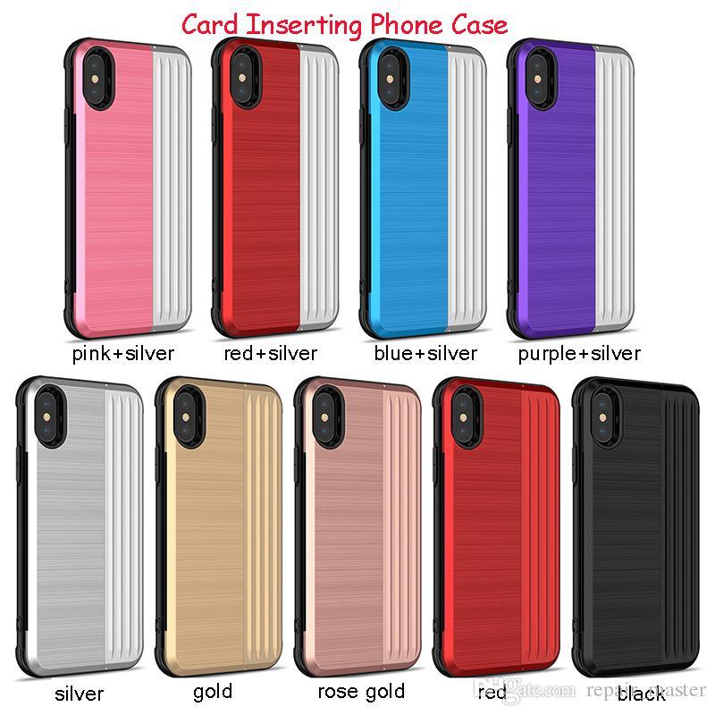 b2ee01ace4 Huawei Custodia Custodia Telefono IPhone XR XS MAX Slot Carta Di Credito  TPU Cover Posteriore PC IPhone 6 6S Plus 7 Plus Custodia P8 Huawei Da  Repair_master ...