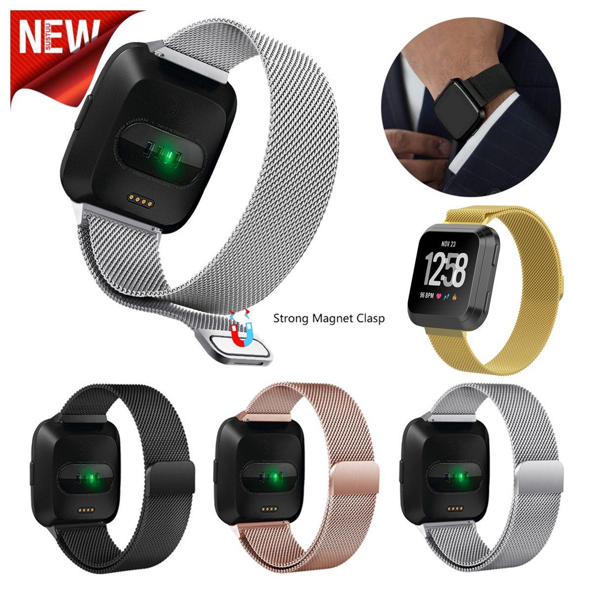 a20389a2e4e Magnético Milanese Loop Strap Wrist Band Substituição Para Fitbit Versa Pulseira  Pulseira de Relógio de Aço Inoxidável Bloqueio Magnético Pulseira 4 Cores